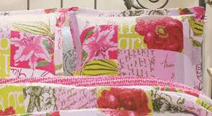 letters pink shabby chic quilt set