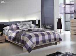 wholesale blue gray plaid mens bedding set queen king 100 cotton