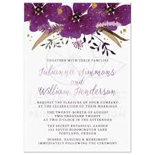 wedding invitations pretty watercolor violet flowers