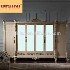 Mirror Armoire Wardrobe Bisini 6 Door Wooden European Style Wardrobe Closet With Mirror