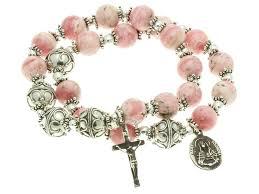 rosary bracelet sterling silver elastic rosary bracelet rhodochrosite 10mm