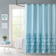 Anthropologie Ruffle Shower Curtain Sequin Shells Pale Aqua Coastal Shower Curtain Honeycomb Aqua