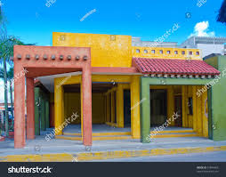 mediterranean style houses colorful caribbean mediterranean style building stock photo