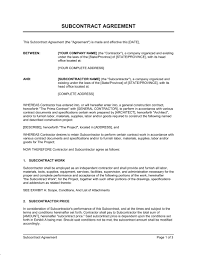 Subcontractor Contract Template subcontractor agreement template sle form biztree