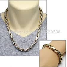2015 men s jewelry 8mm 60cm new arrival 2015 8mm gold silver square byzantine chain necklace bracelet
