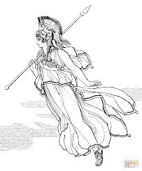 athena with spear coloring page free printable coloring pages