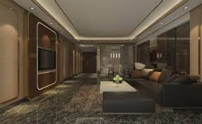 living room design in modern home style black marble pattern