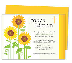sunflowers baby baptism invitation templates editable with word
