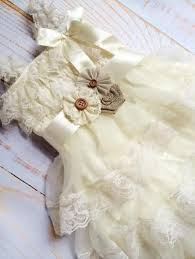 Shabby Chic Wedding Accessories by Ivory Ruffle Lace Burlap Dress With Sash And Headband Toddler