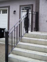 Contemporary Railings For Stairs by Modern Exterior Simple Railing For Front Entrance With Existing