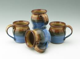 pottery coffee mug set of four 12 oz stoneware pot belly mugs
