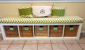 aesthetic ikea hallway storage bench using square rattan baskets