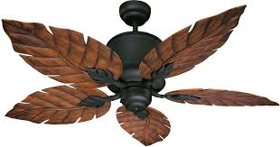 ceiling fan with leaf shaped blades about ceiling tile