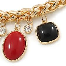red chain link necklace images Statement red black resin bead carm thick chunky gold link chain jpg
