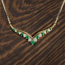 gold diamond emerald necklace images G h vs2 ideal cut natural diamond emerald necklace yellow gold ?1538