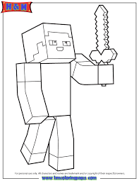 minecraft person holding sword coloring coloring pages