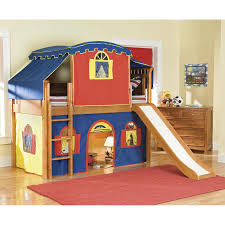 Wooden Tent by Bedroom Blue And Red Tent Loft Bed With Slide And Stairs Having
