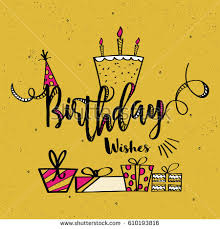 birthday wishes card design different elements stock vector