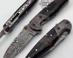 damascus knife etsy