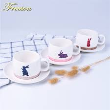 bunny tea set japanese kawaii rabbit bone china coffee cup saucer spoon set