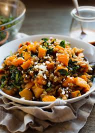 roasted butternut squash winter salad with kale farro and