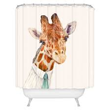Animal Shower Curtain Mr Giraffe Shower Curtain Ivory Deny Designs Target