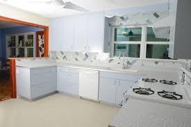 l shape kitchen decoration using light grey granite retro kitchen