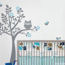 stickers arbre chambre enfant hibou oiseaux fleurs wall sticker arbre sticker mural papier peint