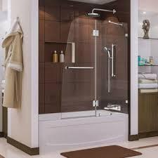 frameless glass shower doors over tub dreamline aqua 48 in frameless hinged tub door free shipping
