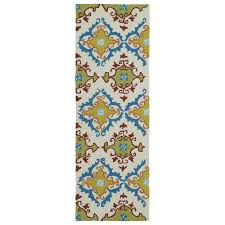 home and porch ivory 2 ft x 6 ft indoor outdoor rug runner designd