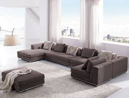 Lavish Sofa Also Black Table And White Drum Shade Chandelier As - Contemporary fitted living room furniture