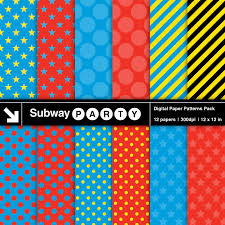 train superhero party digital papers blue red stars u0026
