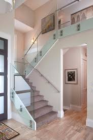 Landing Banister Good Looking Glass Stair Rail Staircase Modern With Black And