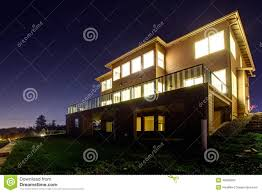 house with lights on night view stock photo image 40386600