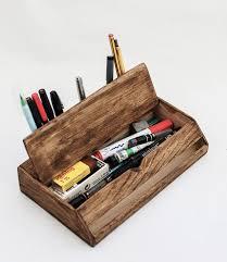 Desk Organizers Wood by Vintage Wooden Handmade Desk Organizer Pen Holder Cellphone Stand