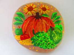 painted rock thanksgiving harvest fall acrylic paints on