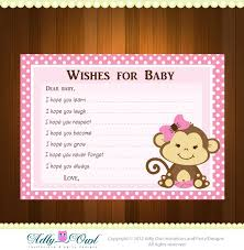 pink monkey wish and advice card for baby shower print