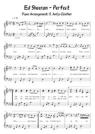 ed sheeran perfect text ed sheeran perfect easy piano with words sheet music for piano