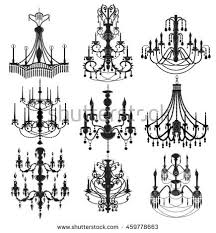 Classic Chandelier Classic Chandelier Set Collection Luxury Decor Stock Vector