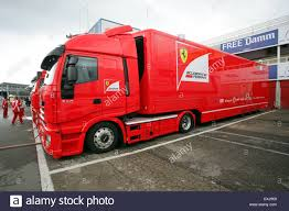 ferrari truck ferrari formula one hospitality team vehicles in the paddock at