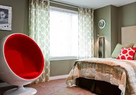 Curtains With Red Green Sheer Curtains With Red Accent Color Bedroom Contemporary