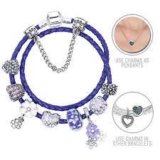 necklace pandora style images Purple lilacs purple pandora style leather bracelet combo set jpg