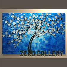 blue and white painting abstract modern figure floral tree blue white leaf oil painting home