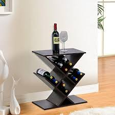 yaheetech brown wood zig zag accent table narrow wine rack