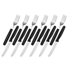 victorinox steak knife u0026 fork set black 12pce peter u0027s of