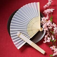 silk fan white folding silk fans