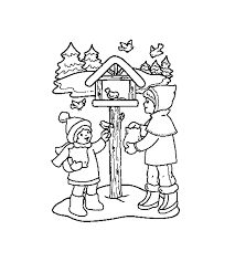download kids and birds in winter coloring pages or print kids and