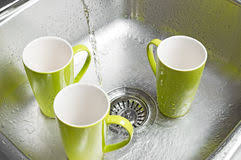 Green Kitchen Sink by Bright Dishes In The Kitchen Sink Stock Photos Image 28064803