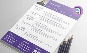 Resume Printer Free Resume Template Psd Clean And Simple Design Print Ready