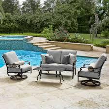Patio Furniture Conversation Sets - du monde 4 piece cast aluminum outdoor conversation set w 42 x 21